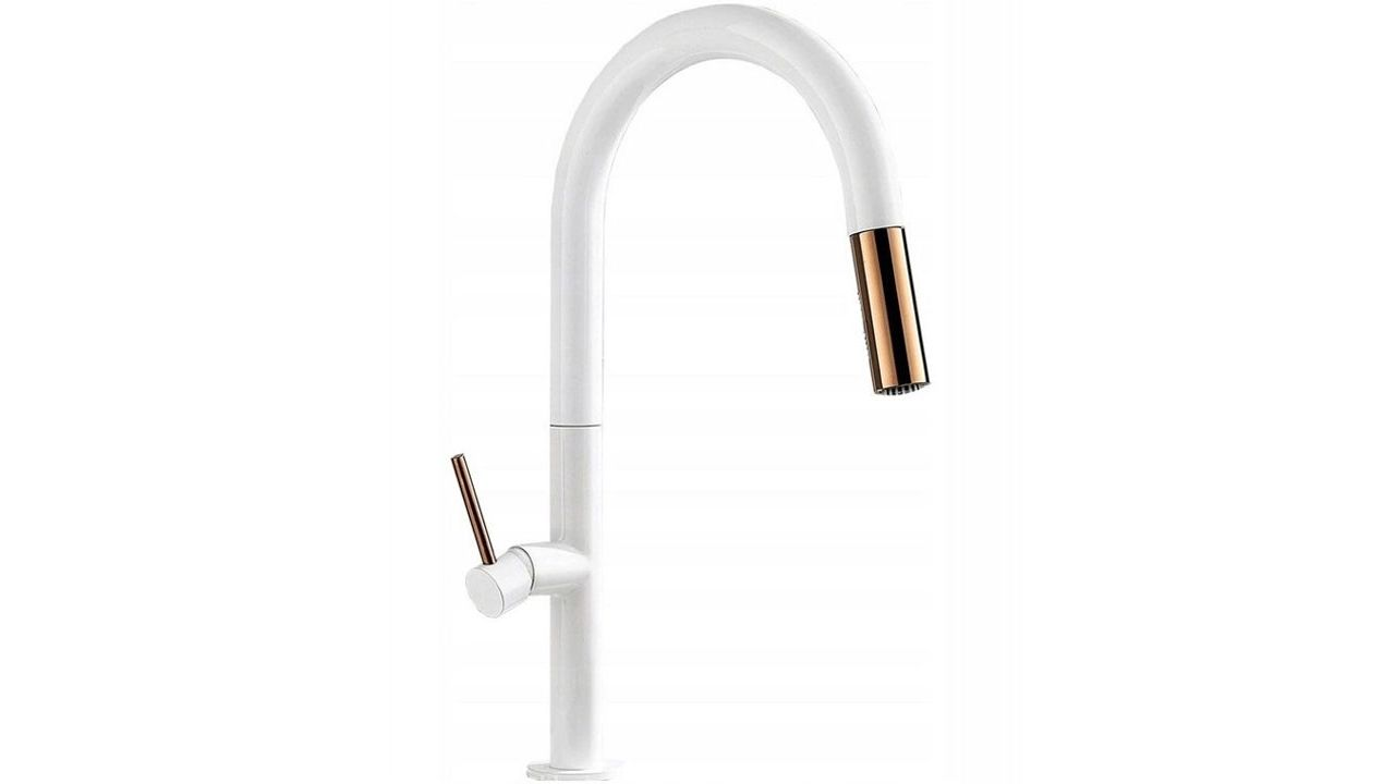 Basin mixer REA  APOLLO White/Rose Gold High