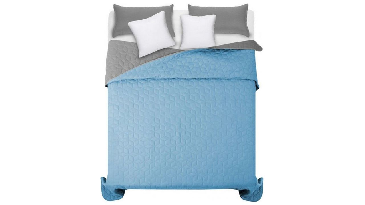 Double-sided quilted bedspread Diamante L.Grey & Blue