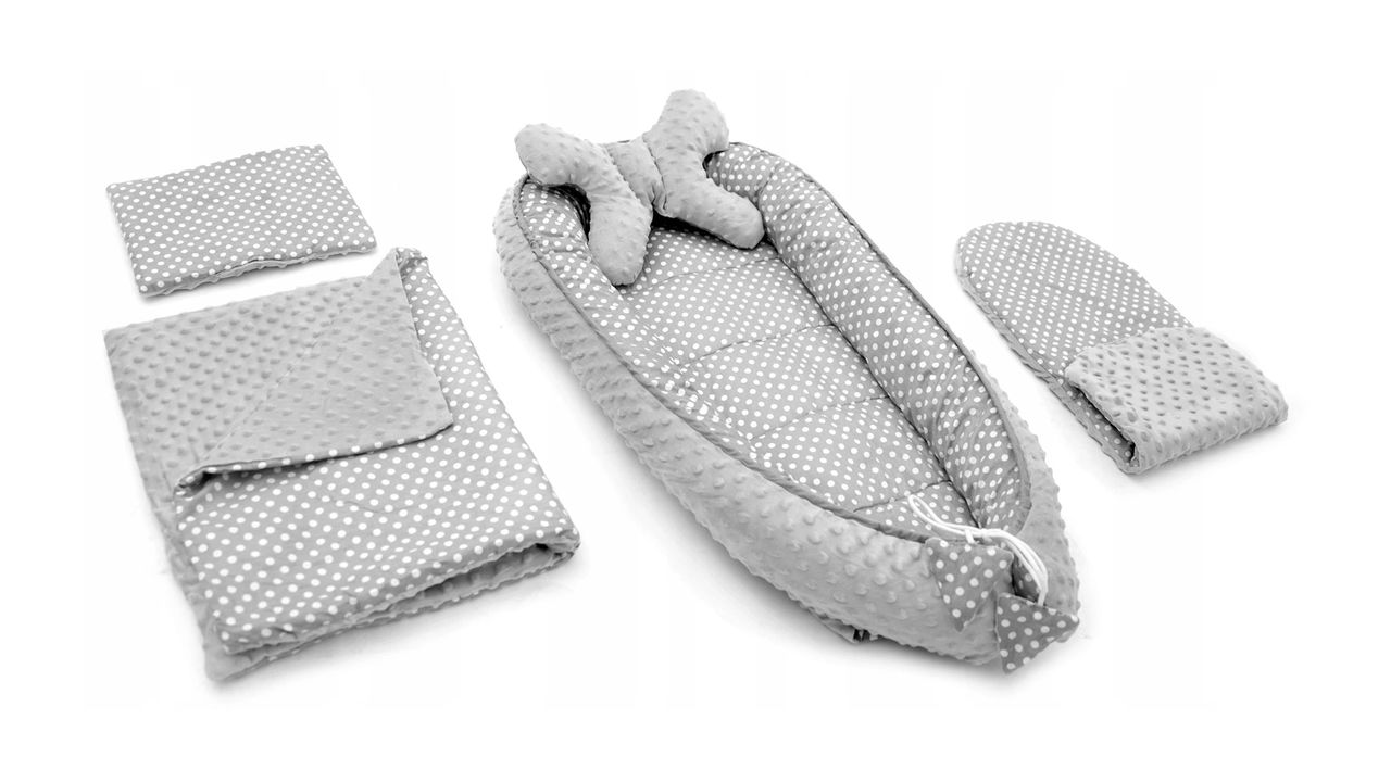 Baby cocoon for pram, mattress, pillow, blanket 5in1 Grey/White Dots