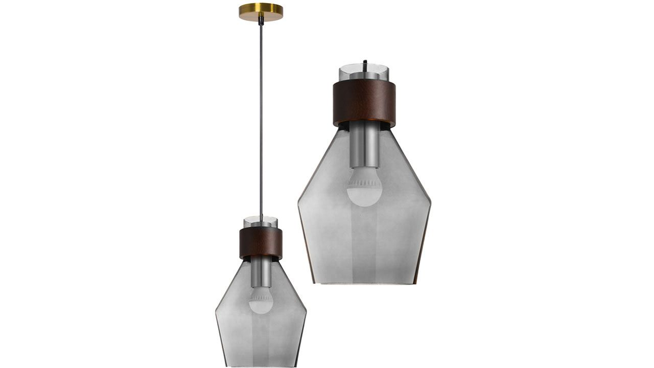Glass Ceiling Lamp Grey APP435-1CP