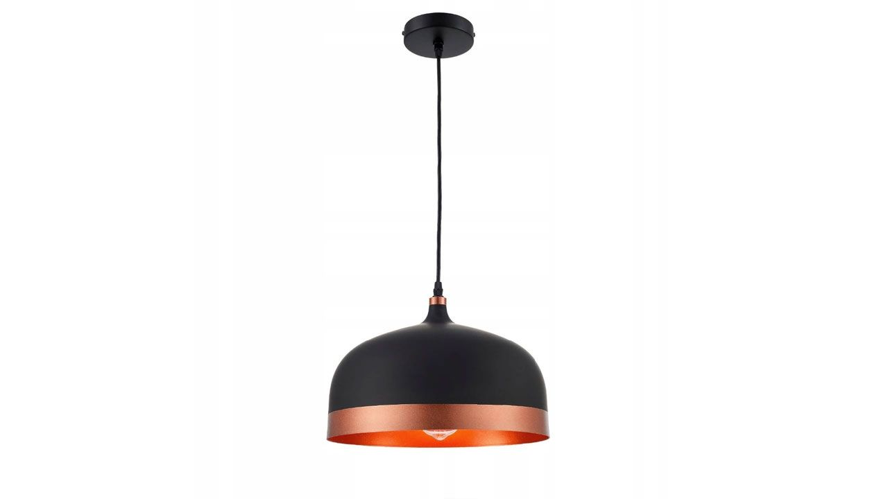 Single Pendant Ceiling Lamp FOX A Black/Rose Gold