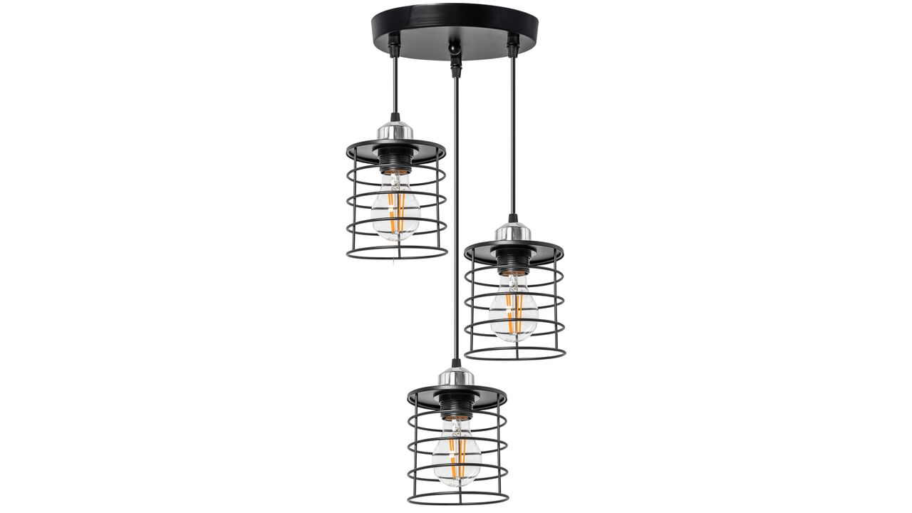 Triple Pendant Ceiling Lamp Metal Loft Black 392204