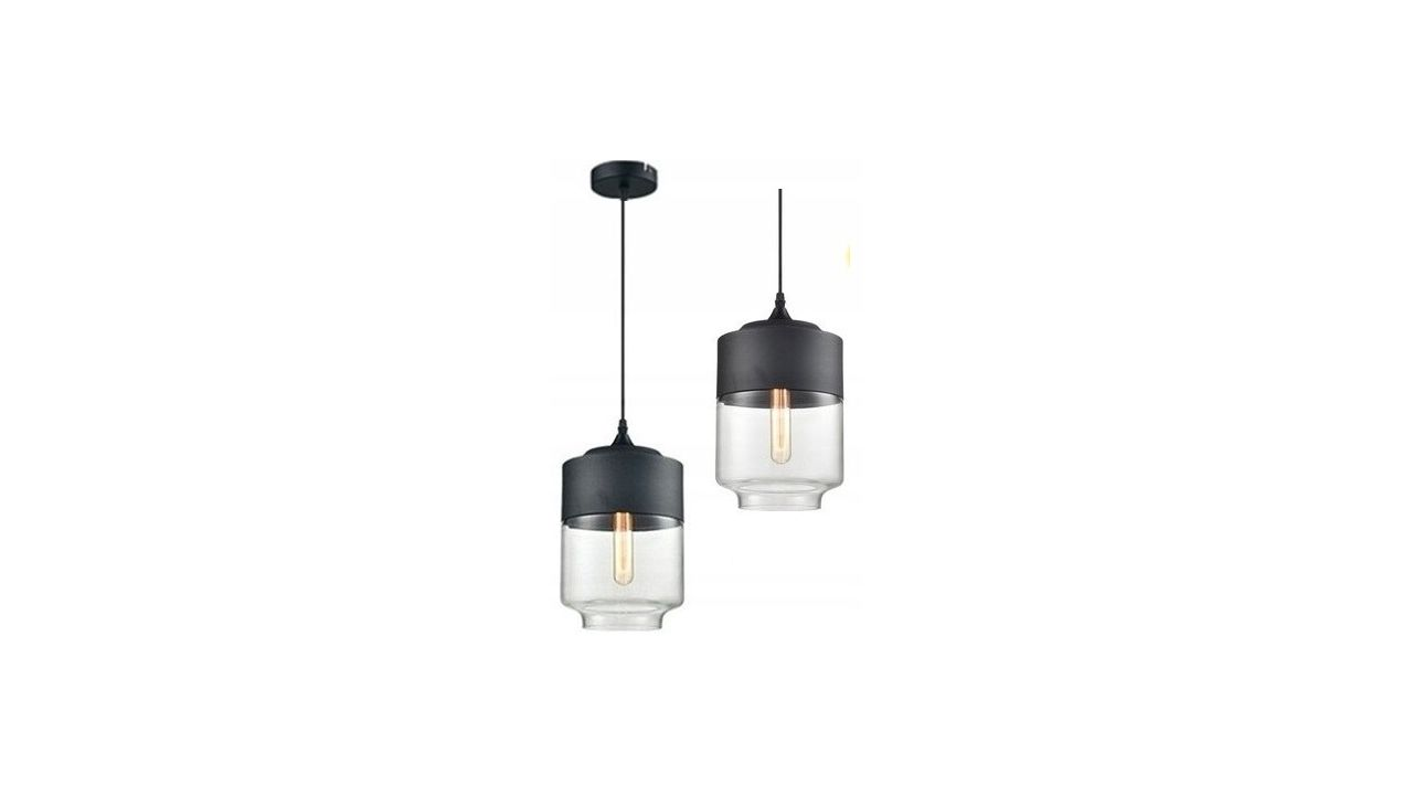 Glass Pendant Ceiling Lamp Zenit C Black