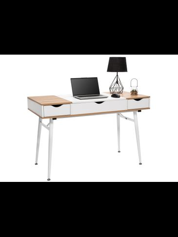 Scandinavian Loft Computer Desk Shelfs White/Oak Sanoma