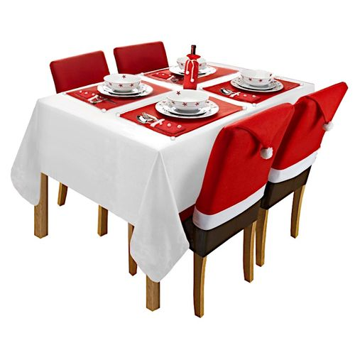 CHRISTMAS DECORATION SET ON TABLE AND CHAIRS RED