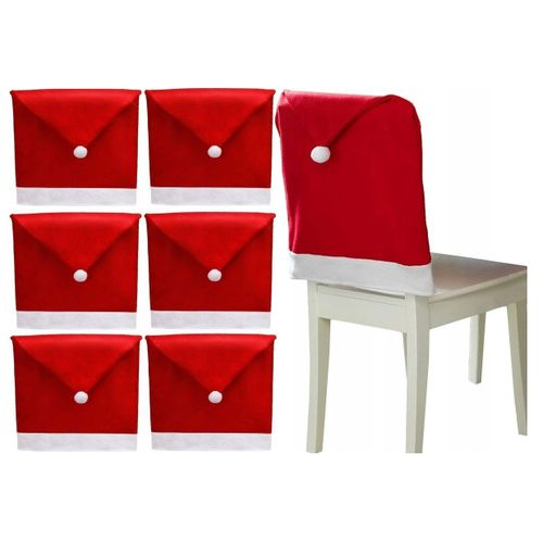 Chair Cover Cap Santa Claus 6 pieces